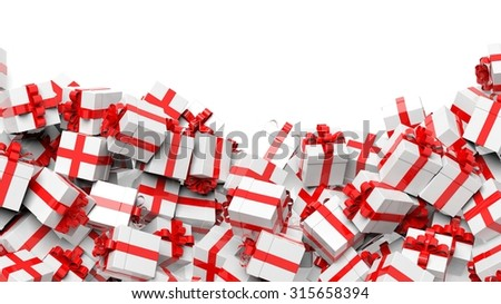 Background with many white with red ribbon gift boxes with copy-space