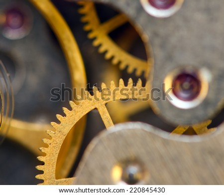 Background with metal cogwheels a clockwork. Conceptual photo for your successful business design. Macro.