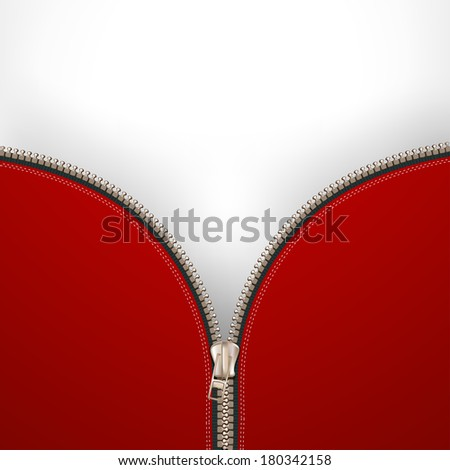 Background with metallic zipper  - stock photo