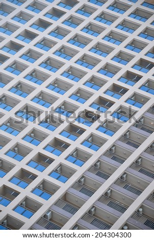 Background with modern building and their balconies and Windows - stock photo