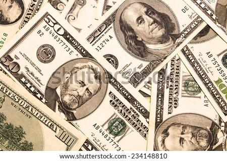 Background with money american  dollar bills  - stock photo
