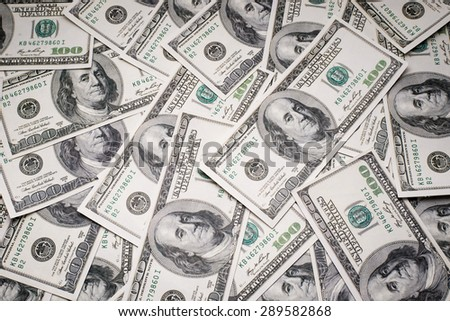 Background with money american 100 dollar bills - stock photo