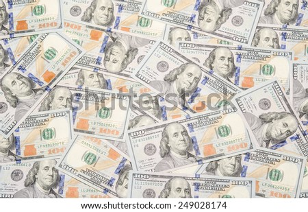 Background with money american hundred dollar bills - horizontal. Money background / photography of the United States dollar (U.S. dollar, American dollar, US Dollar)  - stock photo