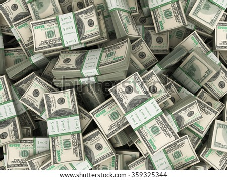 Background with money american hundred dollar bills stacks - stock photo
