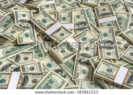 Background with money american hundred dollar bills / studio photography of USD