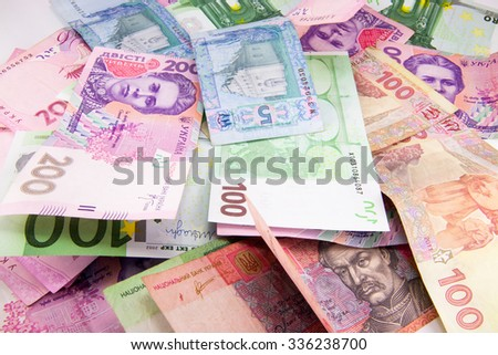 Background with money, dollars, euro, uah, colorfull