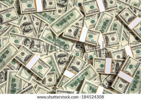 Background with money / studio photography of American moneys of hundred dollar