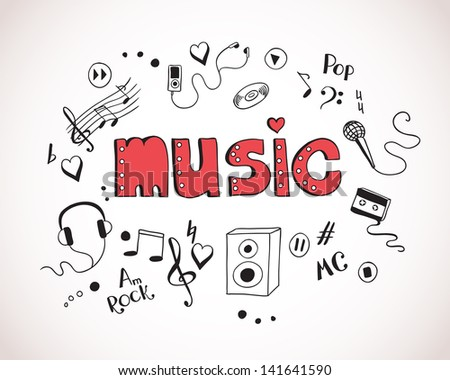 Background with music elements - stock photo