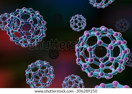 Background with nanoparticles, C60 molecule, carbon nanoparticle, buckyball, chemical structure - stock photo