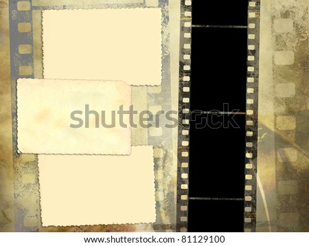 Background with negative film and blank vintage photo - stock photo