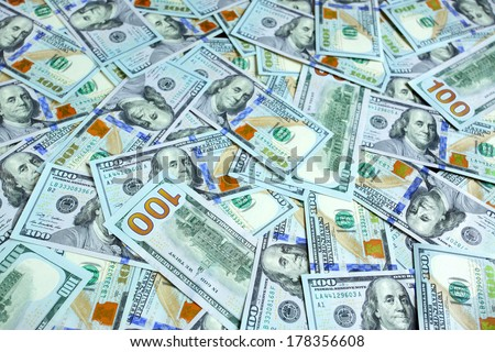 Background with new hundred dollar bills - stock photo