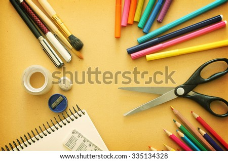 Background with office tools - stock photo