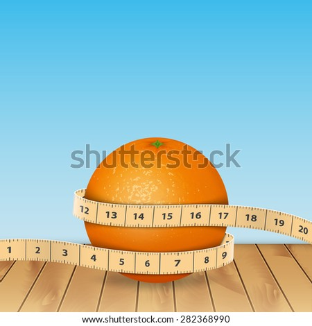 Background with orange and tape measure - stock photo