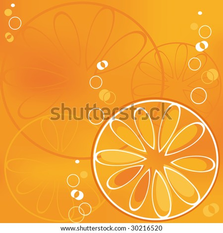 Background with orange slice in bubbly drink - stock photo