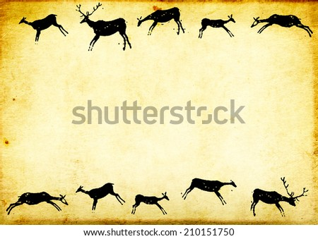 Background with paper texture and drawings of cavemen - stock photo