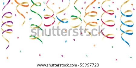 Background with party streamers and confetti, illustration - stock photo