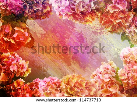 background with patina texture - old wall and oleander - stock photo