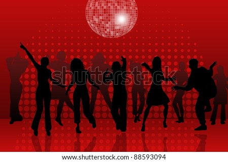 background with people dancing in night-club, disco-ball and glitters - stock photo