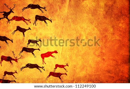 Background with pictures of primitive people - stock photo