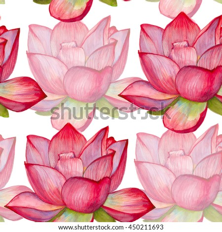 background with pink lotus flower. seamless pattern. watercolor illustration.