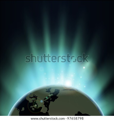 Background with rays of sun rising or setting over the earth. Europe and Africa in front. - stock photo