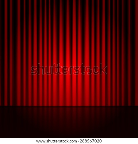 Background with red curtains. Spotlight on stage curtain. - stock photo
