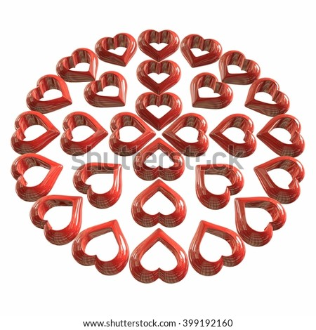 Background with red, gold, steel, hearts in 3D, three-dimensional image, high resolution, Valentine card, birthday card, isolated on white background. 3d illustration - stock photo