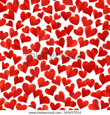 Background with red hearts in 3D, three-dimensional image, high resolution, Valentine card, birthday card, isolated on white background, hearts are made from flower petals - stock photo