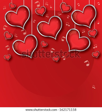 Background with red Hearts, Valentine's day illustration
