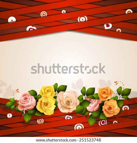 Background with red strips and roses - stock photo