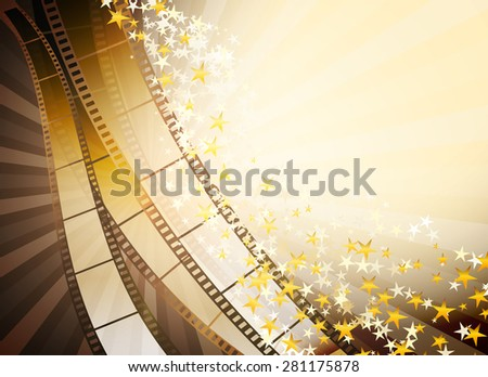 background with retro filmstrip and golden stars - stock photo