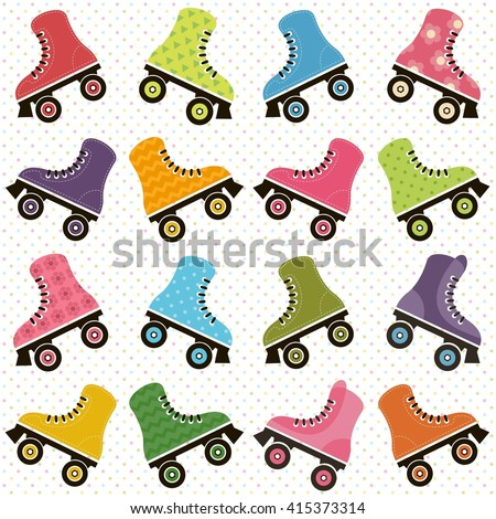 background with roller skates. Raster version - stock photo