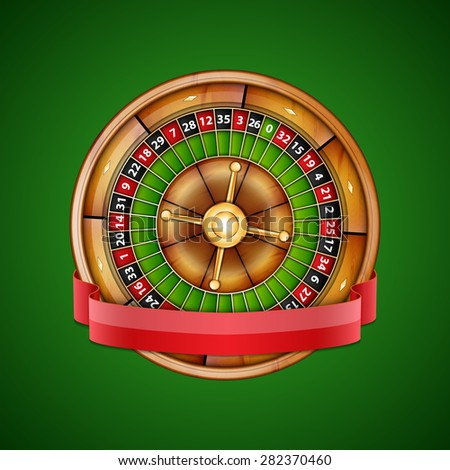 Background with roulette and ribbon. Casino background