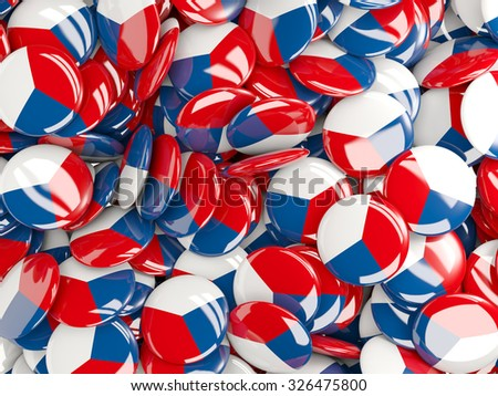 Background with round pins with flag of czech republic - stock photo
