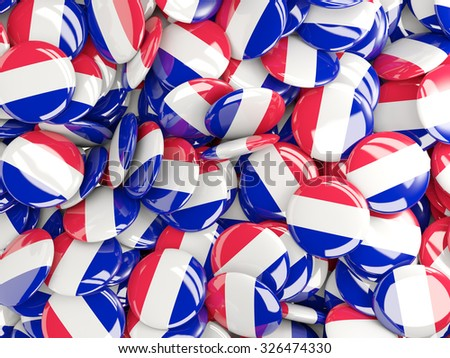 Background with round pins with flag of france - stock photo
