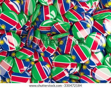 Background with round pins with flag of namibia