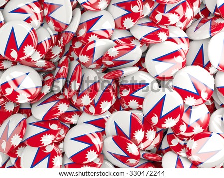 Background with round pins with flag of nepal - stock photo