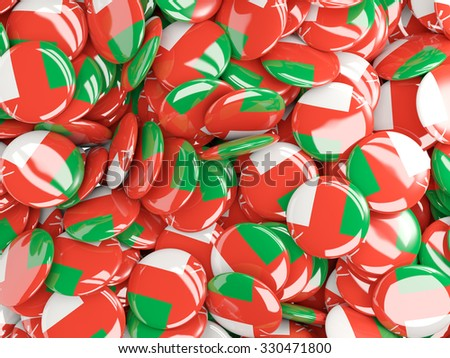 Background with round pins with flag of oman - stock photo