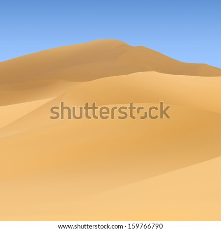 Background with sandy dunes. Classical view of the desert.