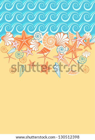 Background with sea, golden sand, seashells, starfish and text box. Stylized coastline and beach. Vintage colorful decorative abstract illustration with concept of seaside resort, vacation, diving - stock photo