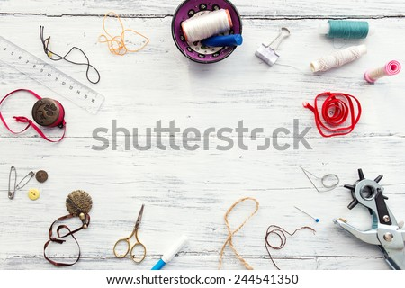 Background with sewing and knitting tools and accesories  - stock photo