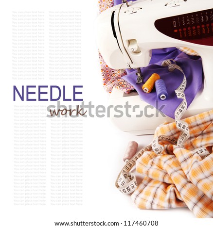Background with sewing machine and colored fabric - stock photo