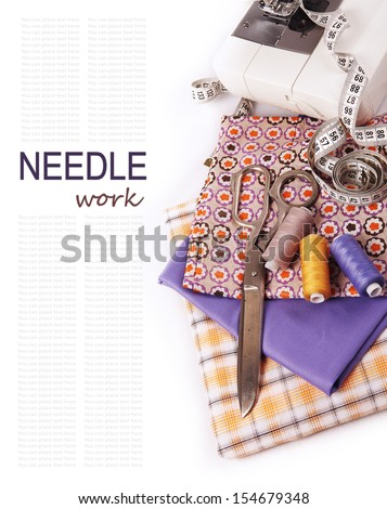 Background with sewing tools - stock photo