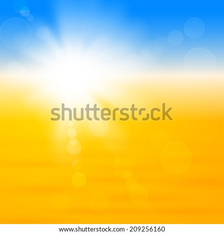 Background with shiny sun with flares over the sand