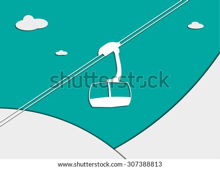 background with ski lift. flat design