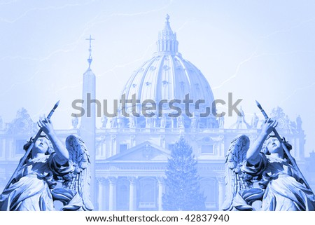 Background with St. Peter's(San Pietro) basilica in Christmas time, Rome, Italy - stock photo