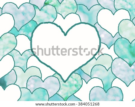 background with stacked drawn love hearts, in shades of blue with light circles. space for your text. - stock photo