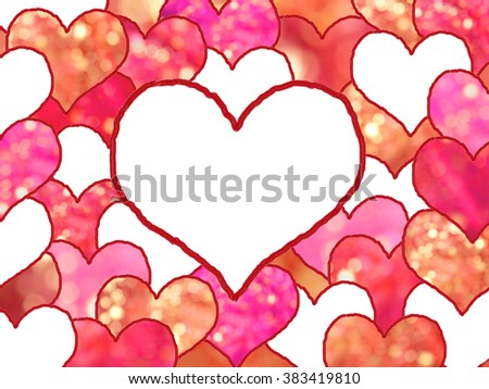 background with stacked drawn love hearts, in shades of red with light circles. space for your text. - stock photo