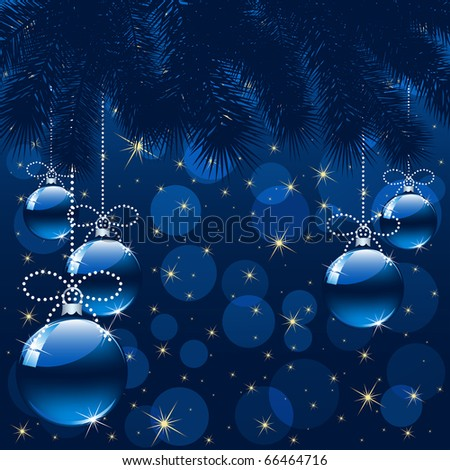 Background with stars and Christmas balls, illustration - stock photo