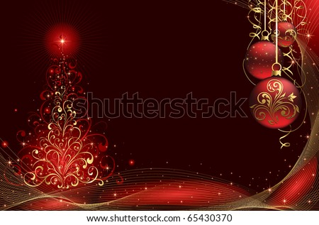 Background with stars, balls and Christmas tree from ornate elements, illustration - stock photo